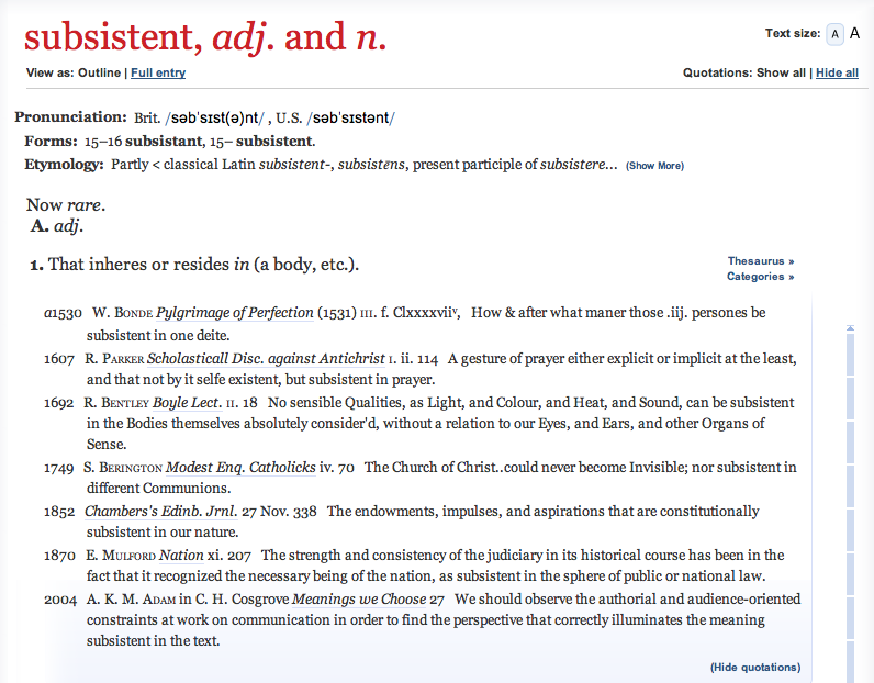 AKMA identified in OED as first to use word 'subsistent' in this sense since 1870