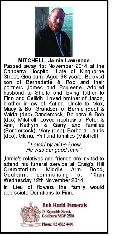 Obituary, Jamie Mitchell