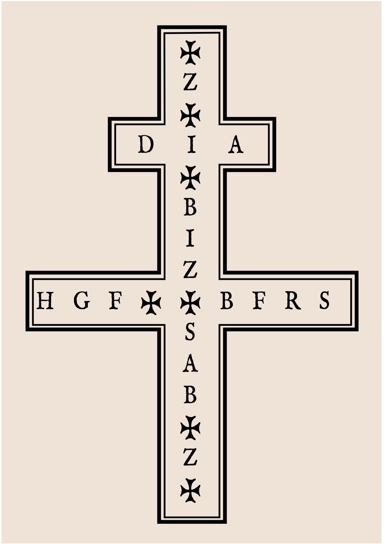 A 'Plague Cross' with the initals of prayers to be said as protection against pestilence